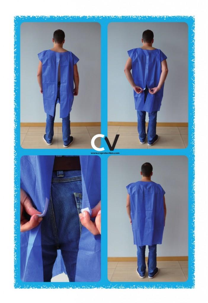 Einweg-Patientenkleid mit Hinterverschluss