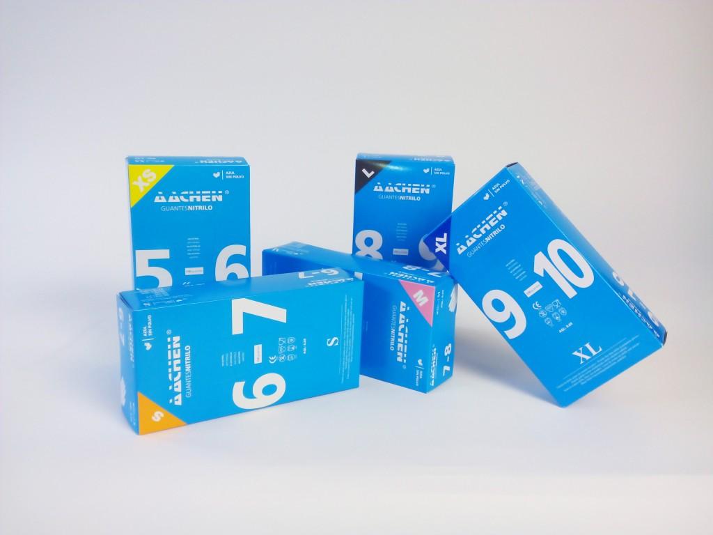 Aachen Nitrilhandschuhe blau Box Farben